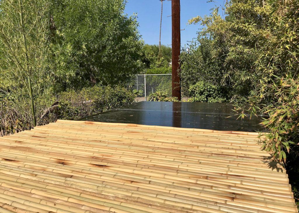 Woodland Hills Catio Polygal Bamboo Roof